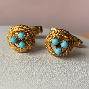 Vintage Turquoise Cufflinks gold plated